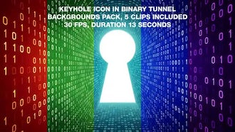 Keyhole In Binary Tunnel Backgrounds Pack: Motion Graphics