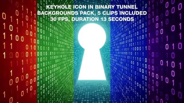 Keyhole In Binary Tunnel Backgrounds Pack: Stock Motion Graphics