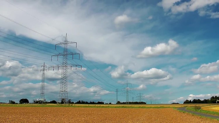 Field And Electric Poles: Stock Video