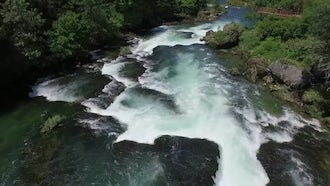 Slow Motion Waterfall Aerial View: Stock Video