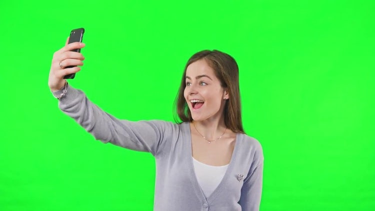 Girl's Selfie Green Screen Background : Stock Video