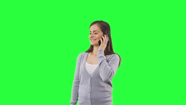 Exciting Phone Call Green Screen: Stock Video