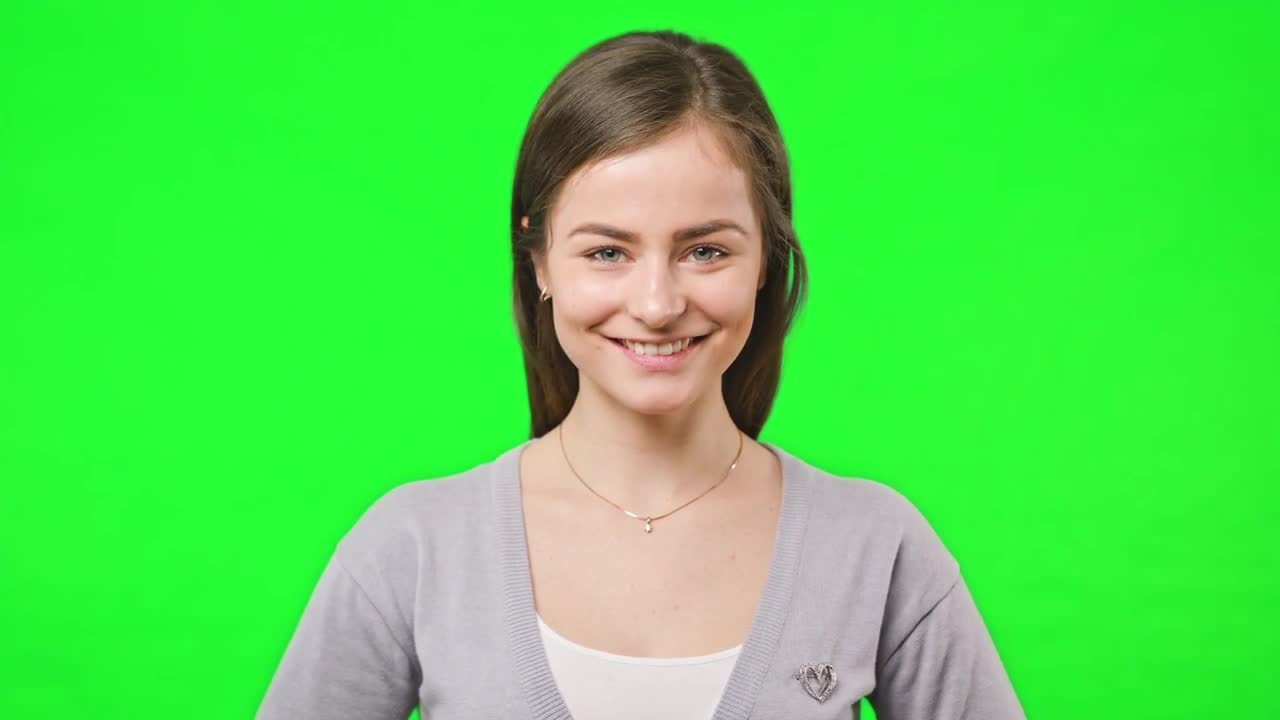 Girl Smiles Green Screen Background - Stock Video   Motion Array