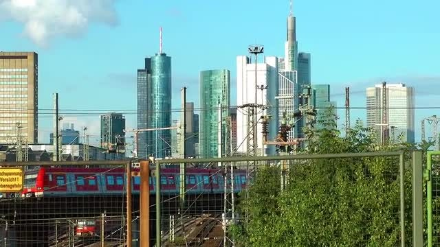 City Train In Frankfurt Germany: Stock Video