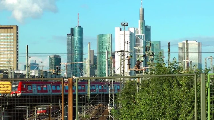 City Train In Frankfurt Germany: Stock Video