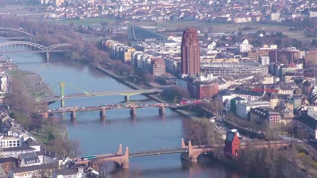 Frankfurt And Maine River Time Lapse: Stock Video