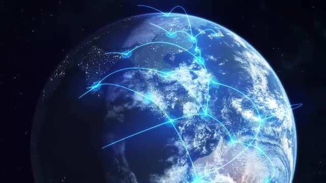 Global Network - Blue: Stock Motion Graphics