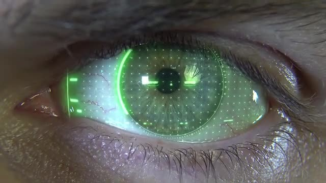 Close-up Eye Computing Data: Stock Motion Graphics