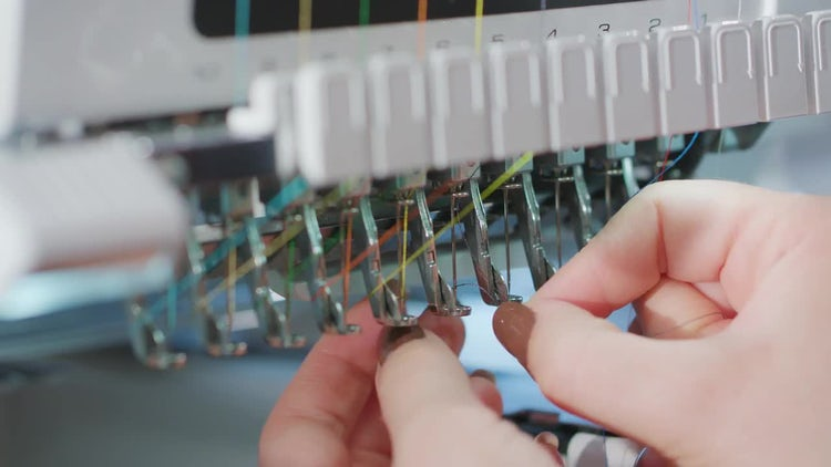Put Thread In Industrial Embroiderer: Stock Video