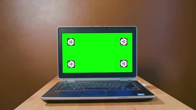 Pan Laptop With Green Screen: Stock Video