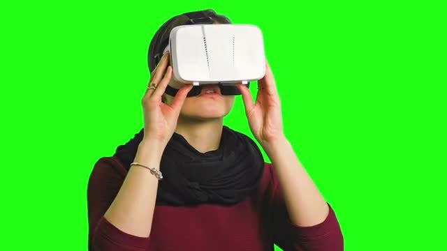 Woman Using VR Headset: Stock Video