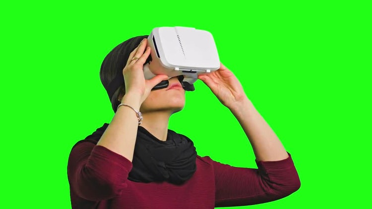 Woman Tilting With A VR Headset On: Stock Video