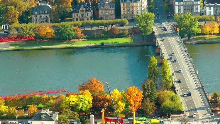 Traffic On Bridge In Frankfurt Time Lapse: Stock Video
