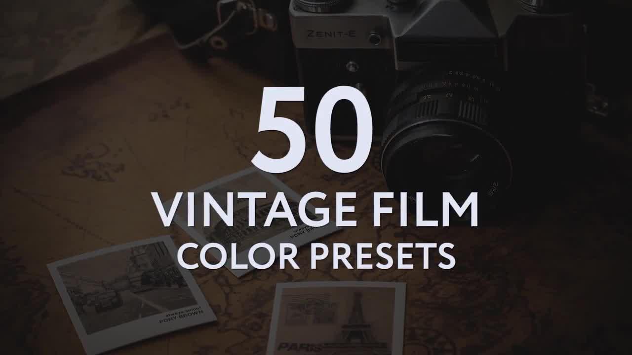 50 Vintage Film Color Presets - Premiere Pro Presets