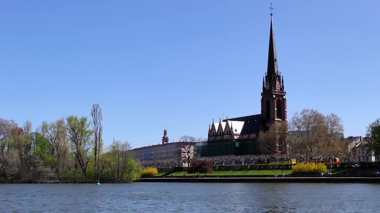 Dome Church And Main River In Frankfurt: Stock Video