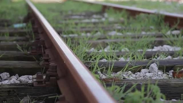 Train Rail Closeup: Stock Video