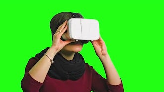 Woman Enjoying VR: Stock Video