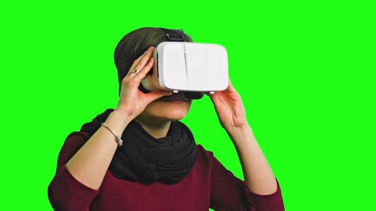 Woman Enjoying VR: Stock Video
