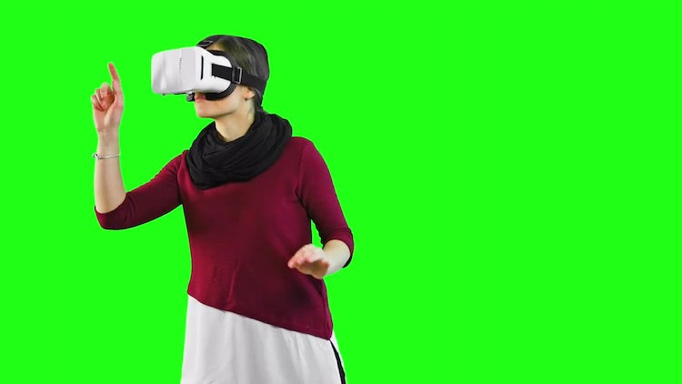Woman Explores With VR Headset: Stock Video