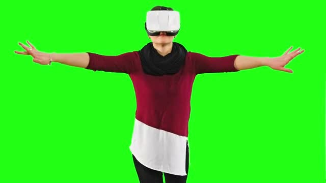 Woman With VR Headset Gesturing: Stock Video