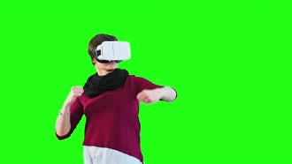 Woman Boxing With VR Headset On: Stock Video
