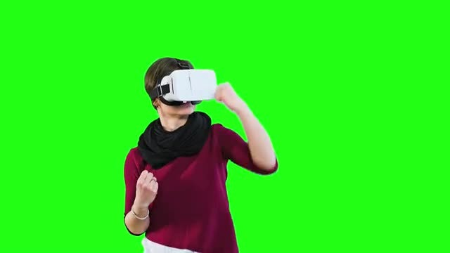 Virtual Reality Boxing Green Screen: Stock Video