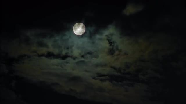 Full Moon Against Black Sky: Stock Video