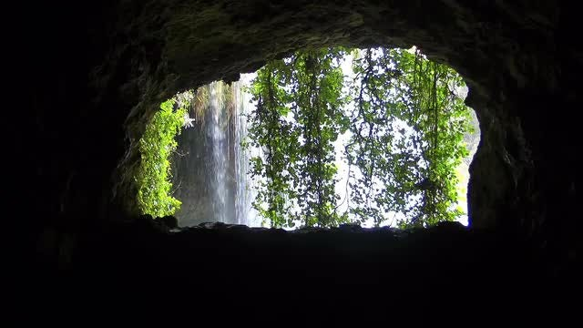 Waterfall View From Inside Cave : Stock Video