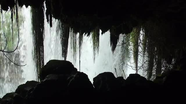 Waterfall View From Cave: Stock Video