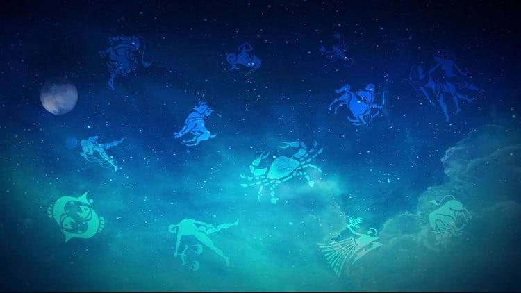 Horoscope Zodiac Symbols In Sky: Motion Graphics