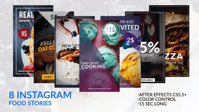 8 Instagram Food Stories: After Effects Templates