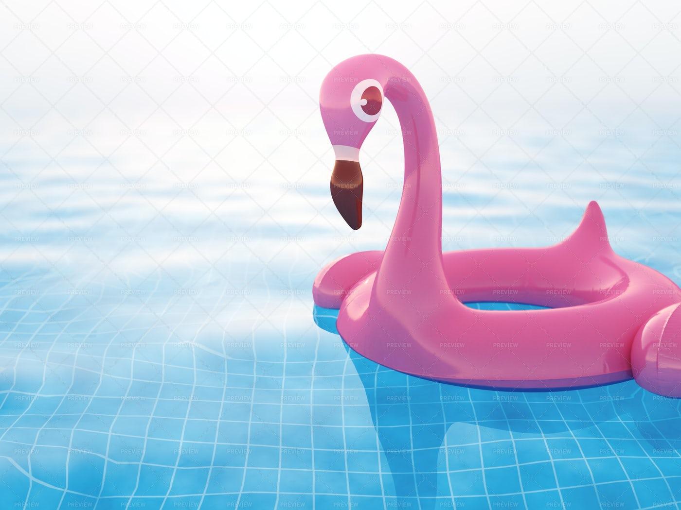 Pink Inflatable Flamingo: Stock Photos