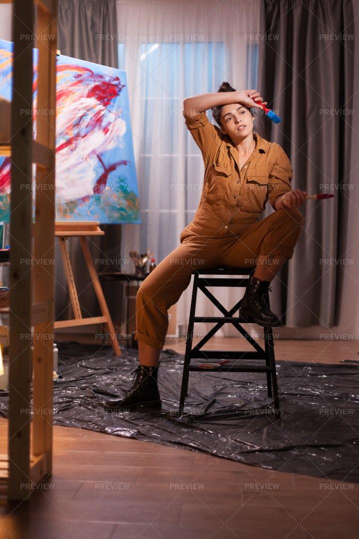 Overworked Artist In The Studio: Stock Photos