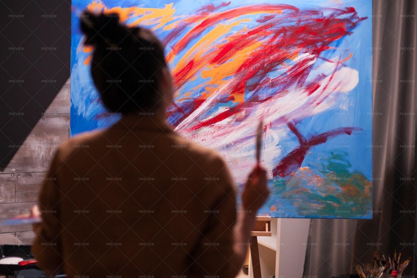 Woman In Art Workshop: Stock Photos
