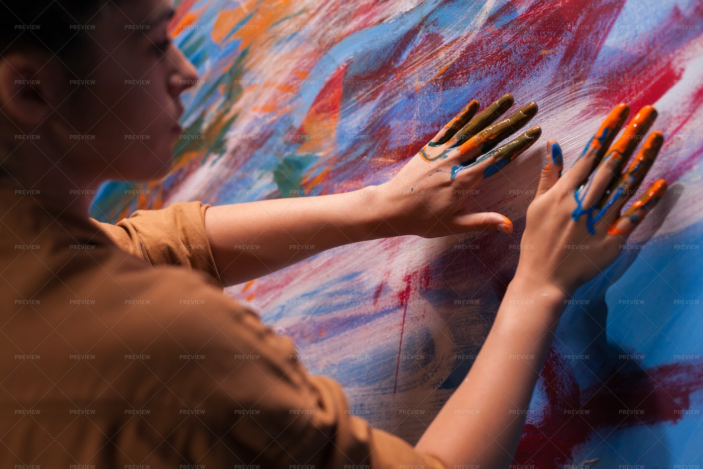 Painting With Her Fingers: Stock Photos