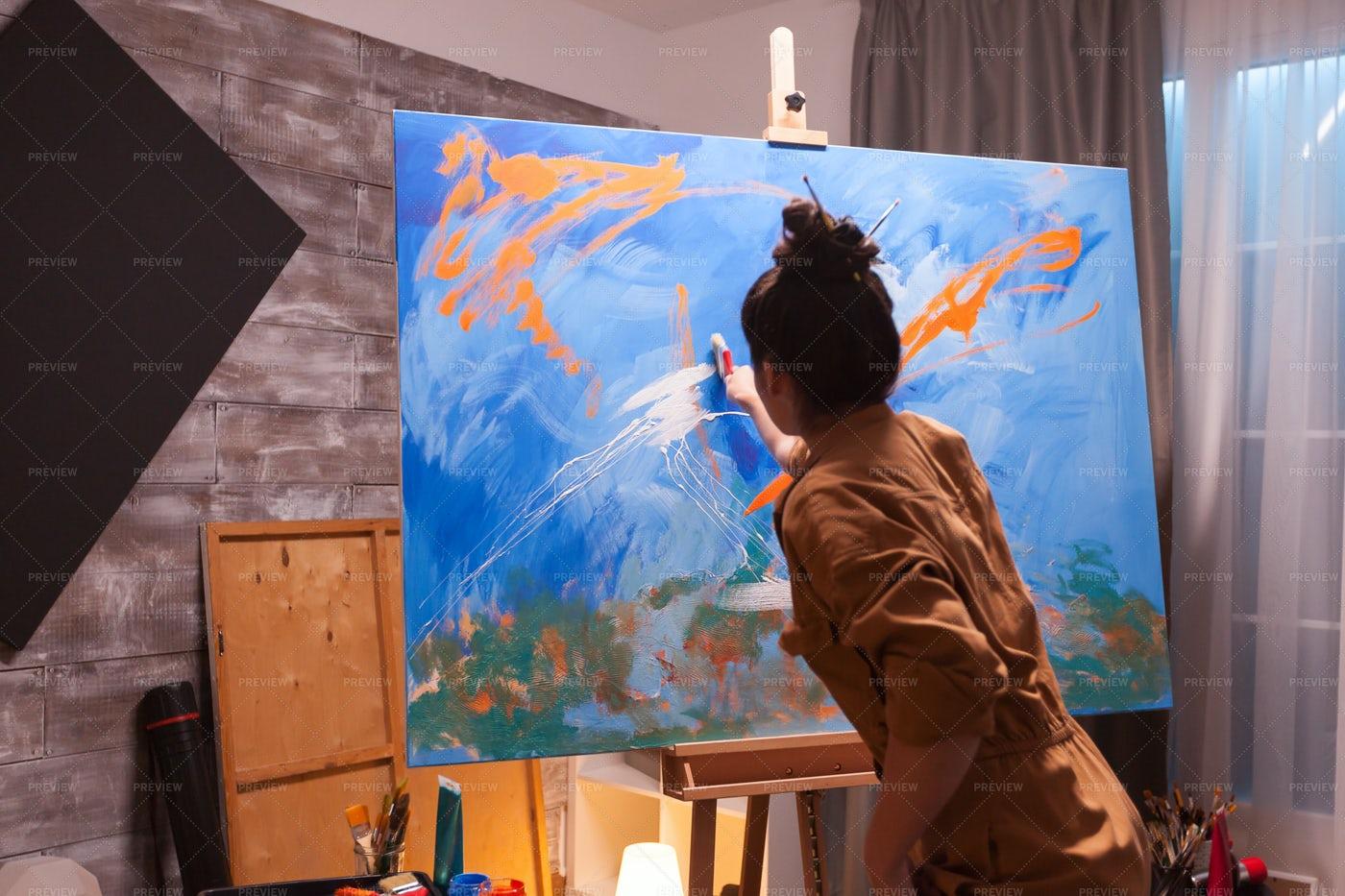 Skillful Woman Painter: Stock Photos