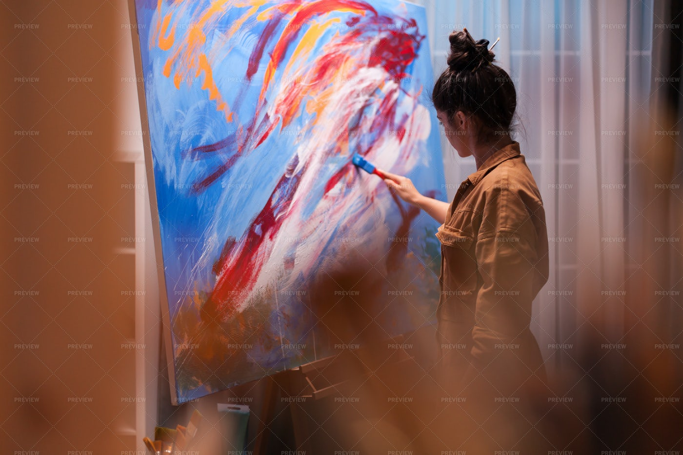 Woman Painting At Home: Stock Photos