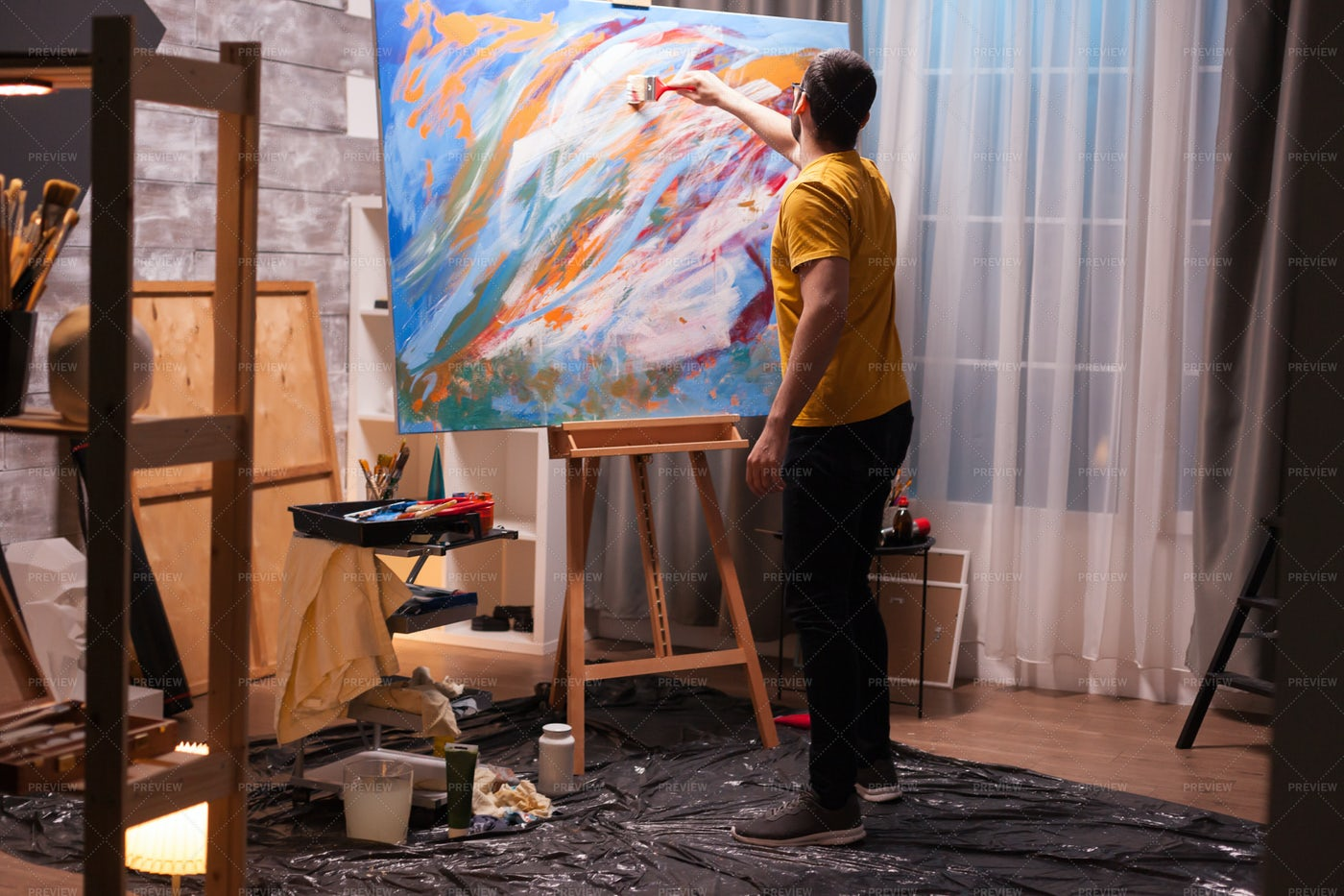 Painting In Studio: Stock Photos