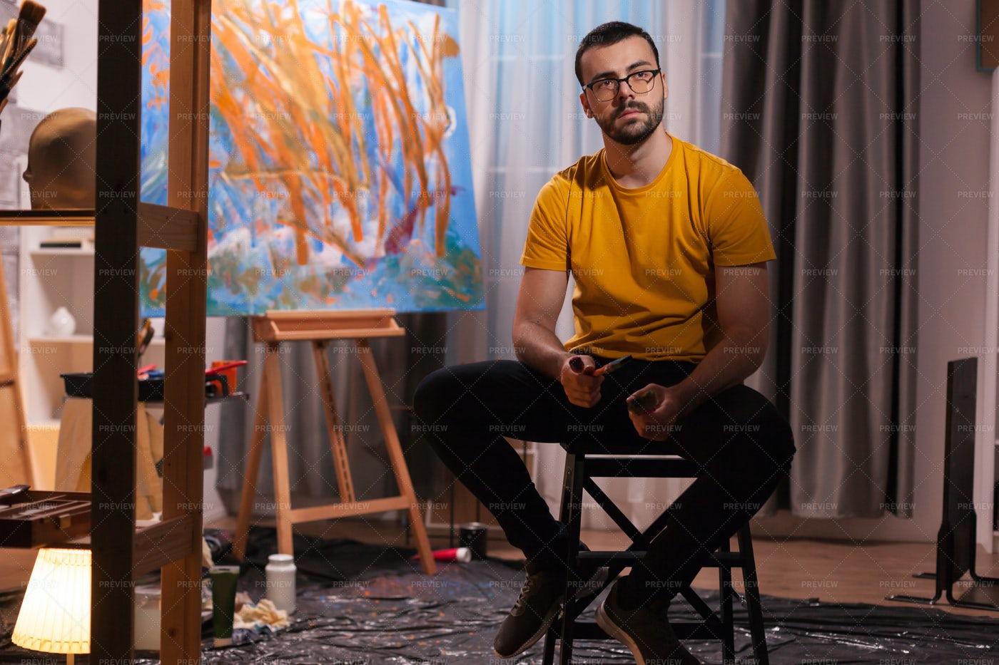 Artist In The Studio: Stock Photos