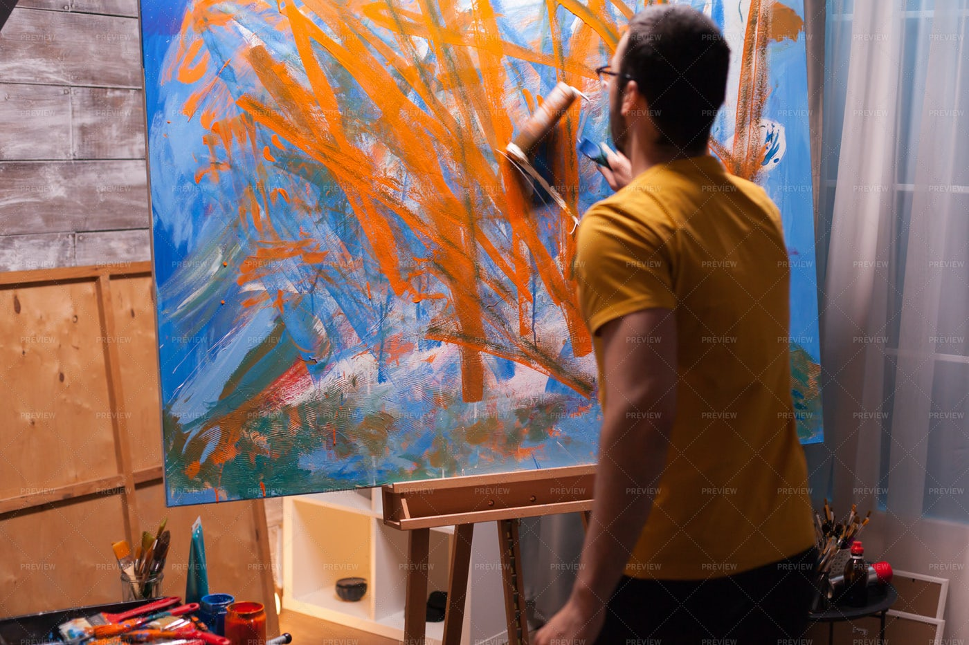 Painting With A Roller: Stock Photos