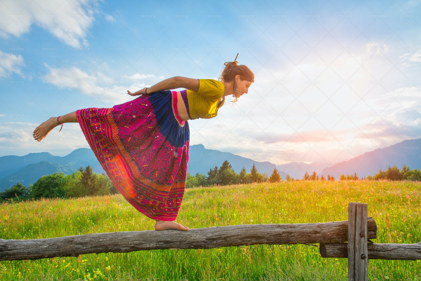 Stretching In Nature: Stock Photos