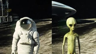 Astronaut And Alien On Moon: Motion Graphics