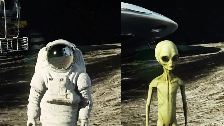 Astronaut And Alien On Moon: Stock Motion Graphics