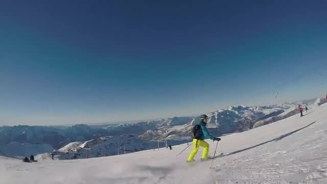 Skiing Down Soft Snow: Stock Video