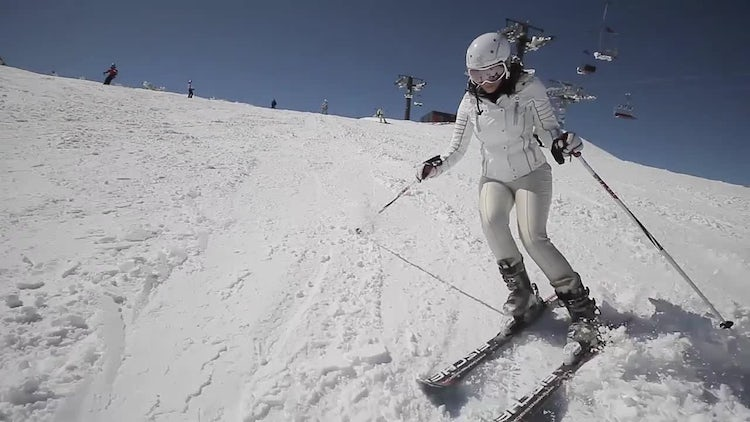 Female Skier Frontal Shot: Stock Video