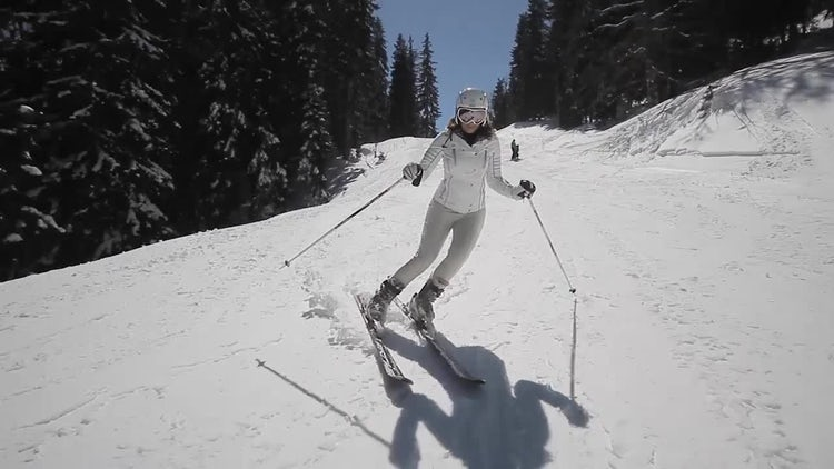 Skillful Female Skier: Stock Video