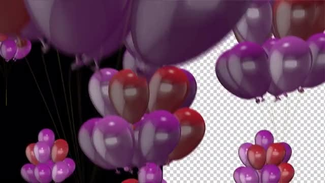 Flying Balloons With Alpha Channel: Stock Motion Graphics