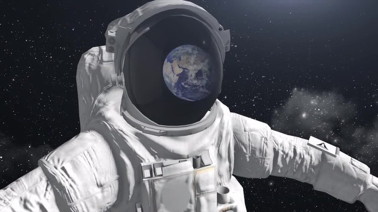 Astronaut In Space Viewing Earth : Motion Graphics