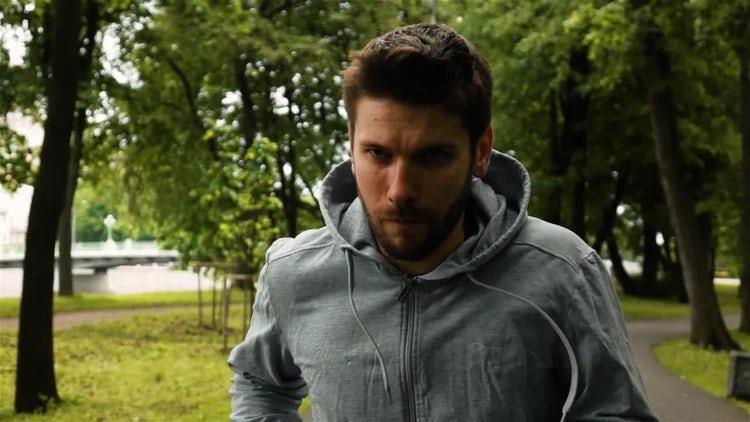 Man Running In Park: Stock Video