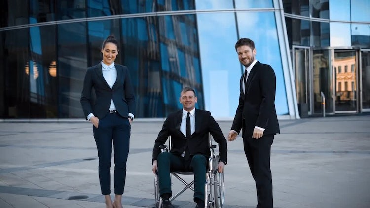 Person With Disability Discusses Business: Stock Video